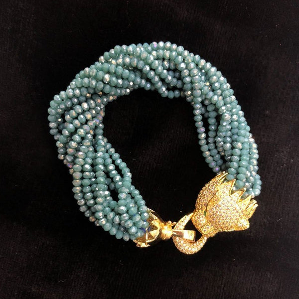 Blue Crystals Gold Plated Bear Bracelet