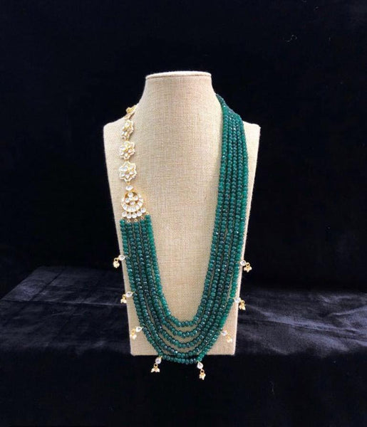 5 Stranded Forest Green Kundan Necklace