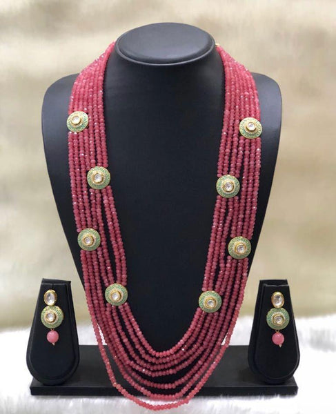 Auburn Pink Green Kundan Necklace Set