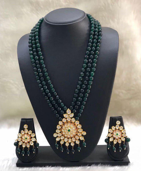 Dark Green Floral Kundan Necklace Set
