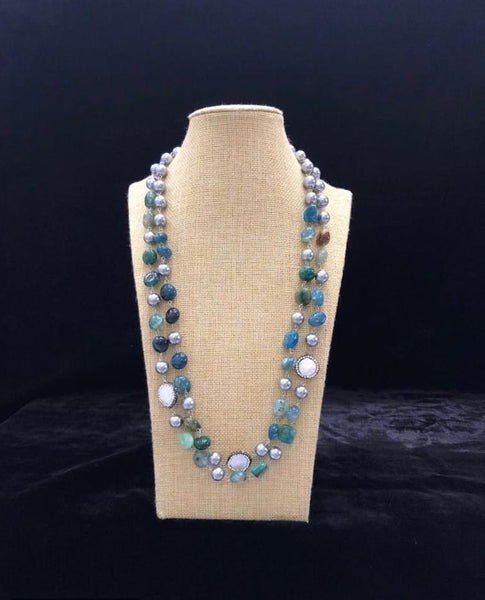 Shades of Blue Silver Pearls Necklace
