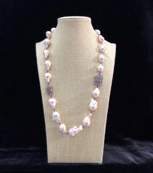 Rose Gold Baroque Pearls Necklace
