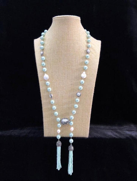 Mint Green Pearls Baroque Pearls Tassel Necklace