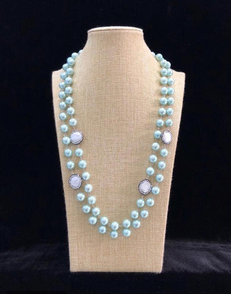 Cool Mint Green Pearls Necklace