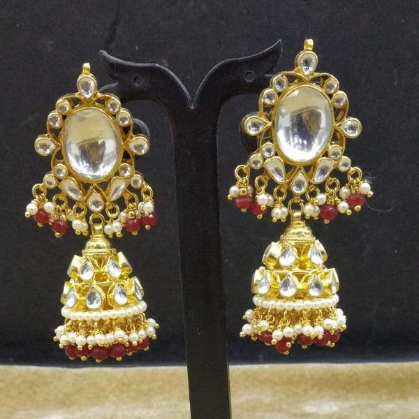 Splendid Kundan Golden Red Earrings