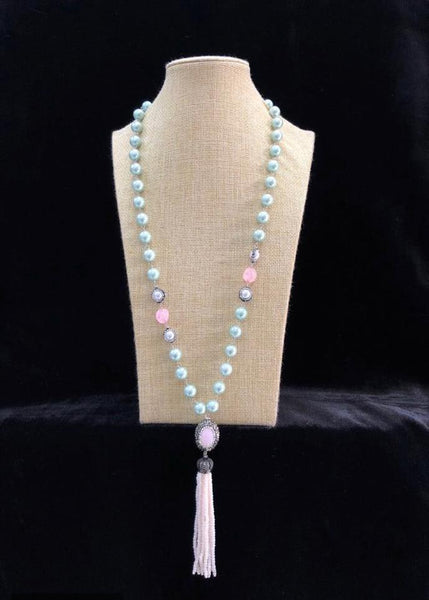 Marvellous Mint Green Beaded Tassel Necklace