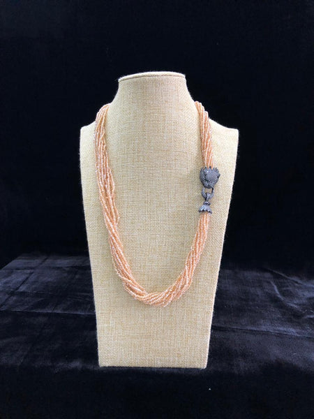 Soap Orange Crystal Beads Black polished Necklace