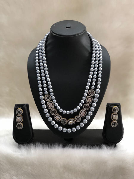 Black with Silver Pearls Necklace Set