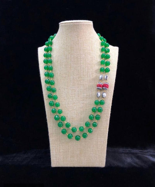 Shamrock Green and Coral Necklace