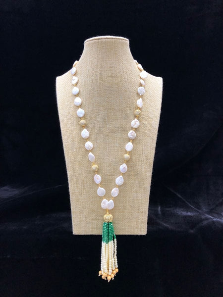 Glimpse of Green & Baroque Pearls Necklace