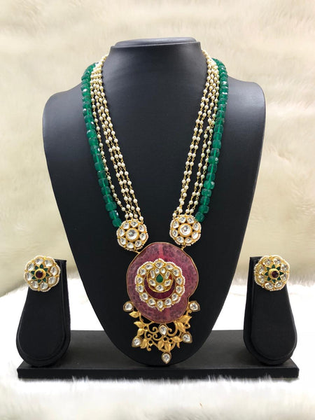Emerald Green Pearl Bond Kundan Necklace Set