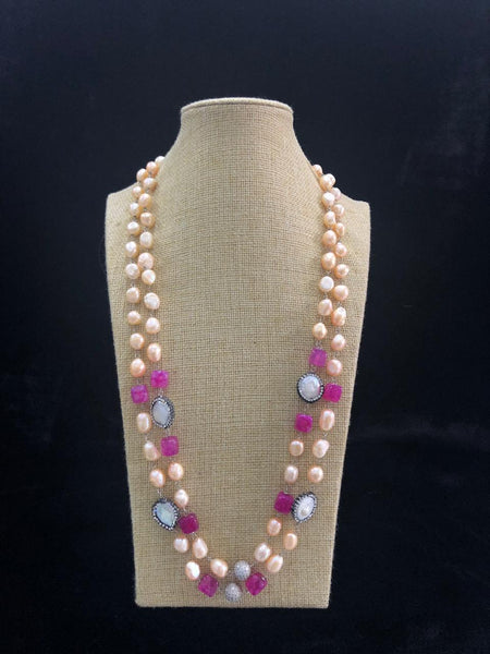 Magenta Pink Golden Freshwater Pearls Necklace
