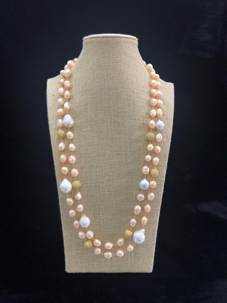 Golden and Baroque Pearls Necklace