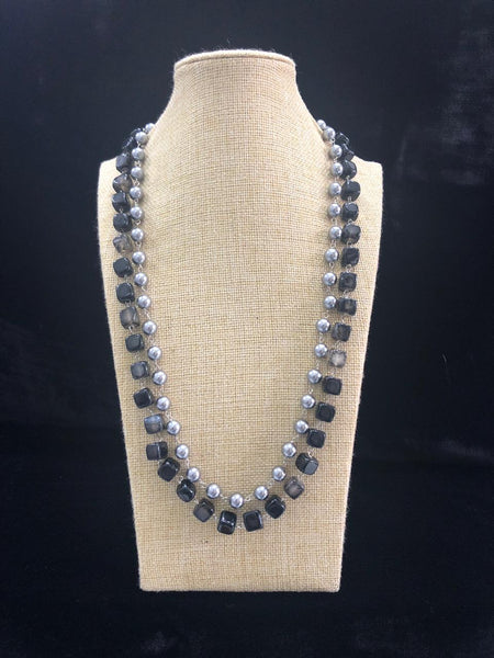 Magnificent Black Silver Pearl Necklace