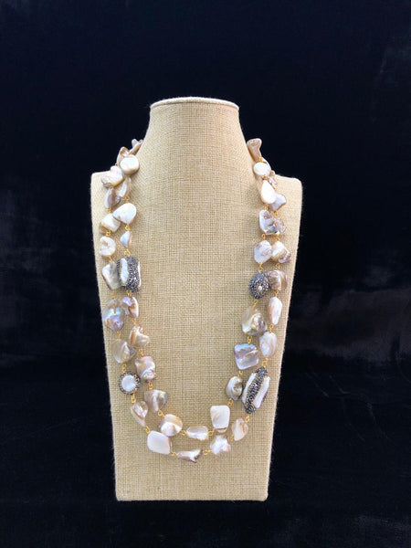 Rich Pearly Greyish White Mother of Pearl Necklace