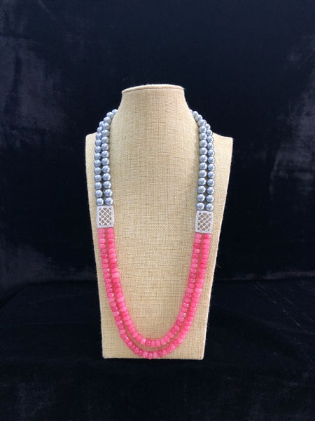 Exotic Bubblegum Pink Gemstones and Shell Pearl Necklace