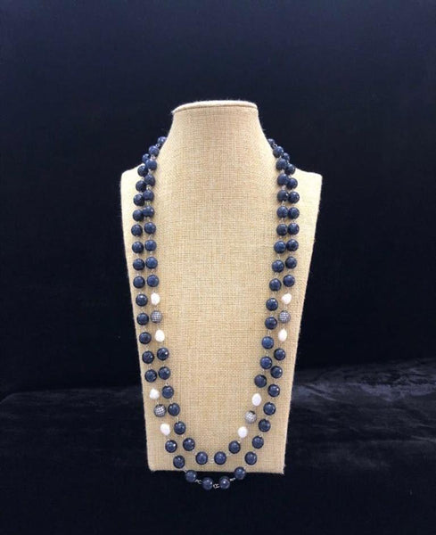 Denim Blue Semi Precious Gemstones Necklace