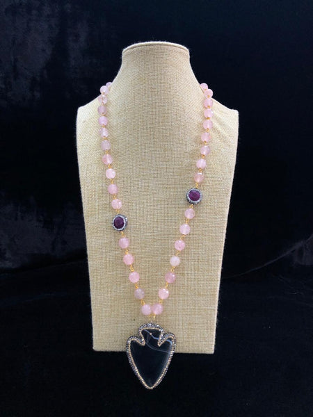 Baby Pink Agate Stone Pendant Necklace