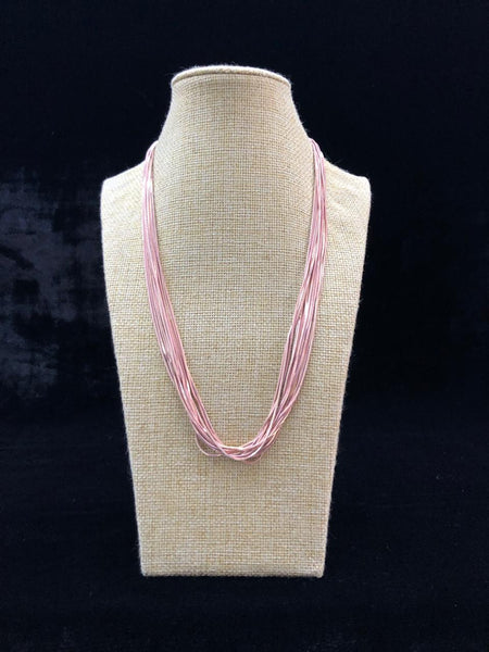 Baby Pink Bunch Of Metal Necklace