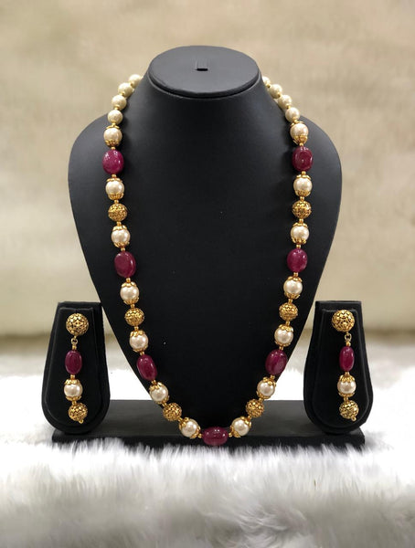 Magnificent Magenta Pink Handcarved Necklace Set