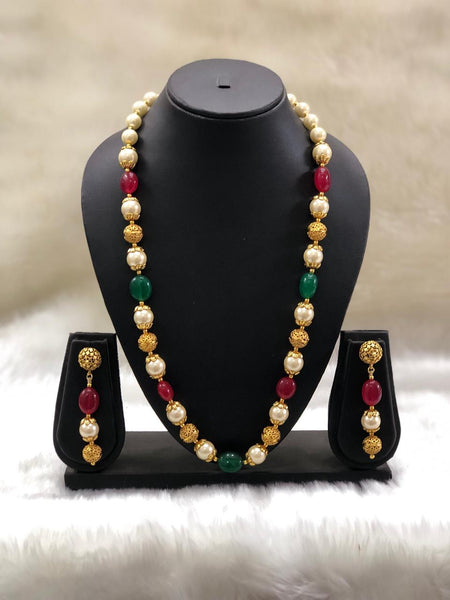 Royal Red And Green Handcarved Golden Necklace Set