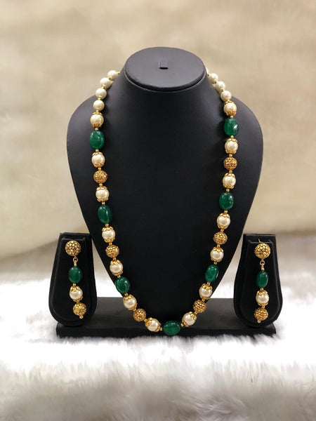 Perfect Pine Green Handcarved Golden Necklace Set