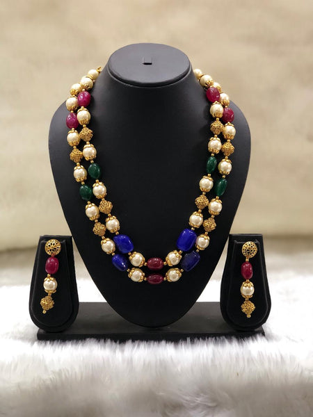 Multicolour Handcarved Golden Pearls Necklace Set