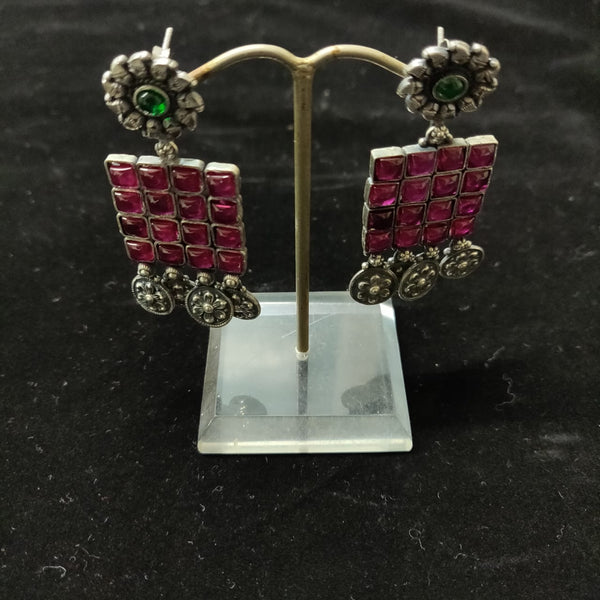 Ruby Squares Emerald Earrings