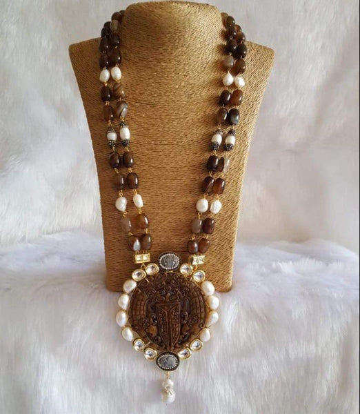 Beautiful Brown Crystal Pearls Drop Pendant Necklace