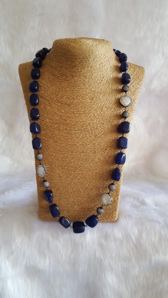 Magical Midnight Blue Crystal Pearls Necklace