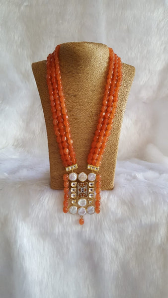 Awesome Opal Orange Kundan Pearls Necklace