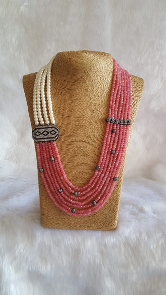 Rich Watermelon Pink Crystal With Pearls Necklace