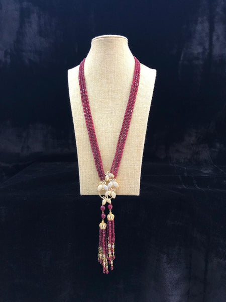 Beautiful Magnetic Maroon Crystal Tassels Necklace