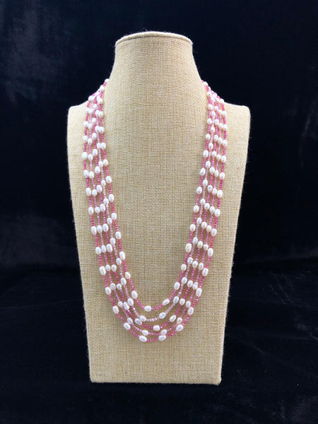 Ethnic Five Stranded Pink Pearls Necklace