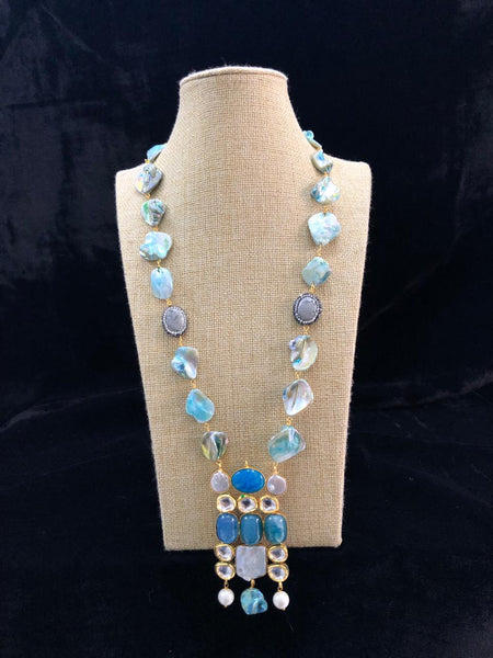Turquoise Blue MOP with Kundan Necklace