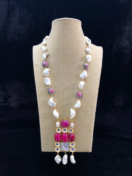 Magnetic Magenta Purple Kundan Drop Pendant Necklace