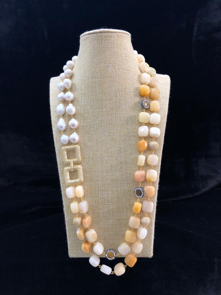 Splendid Shades Of Cream Pearls with Crystal Side Pendant Necklace