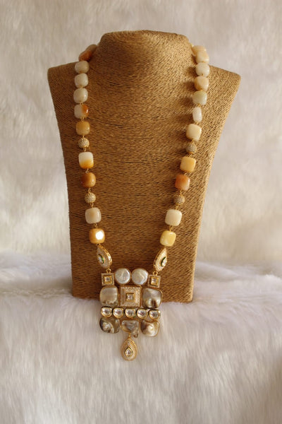 Delicious Shades Of Yellow MOP Kundan Necklace
