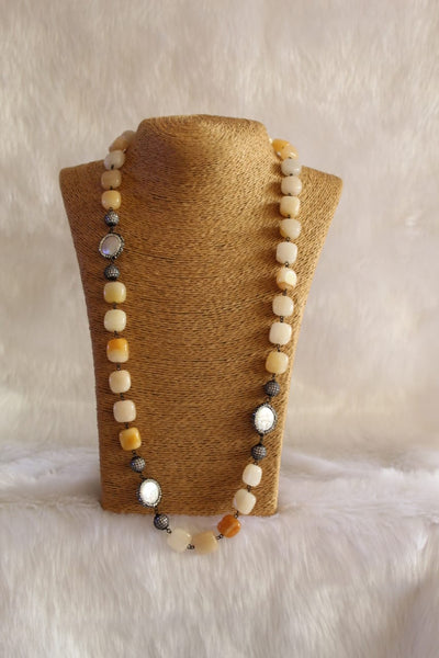 Superb Shades Of Yellow Crystal Pearls Necklace