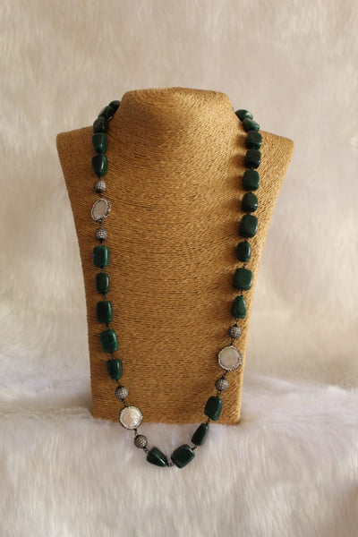 Perfect Pine Green Crystal Pearls Necklace