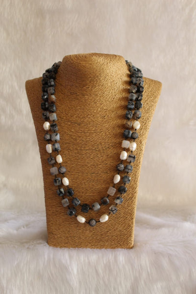 Splendid Shades Of Grey 2 Stranded Crystal Pearls Necklace