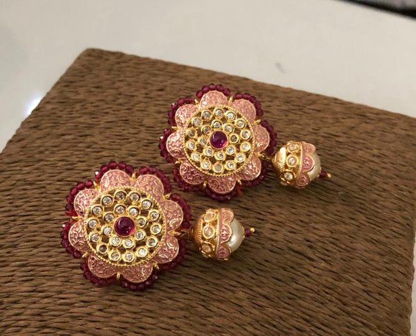Floweret Pastel Pink Kundan With Meena Art Earrings