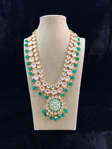 Ornate Emerald Green Kundan Necklace