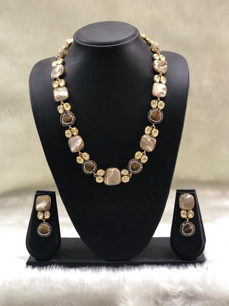 Coffee Brown MOP And Kundan Necklace Set