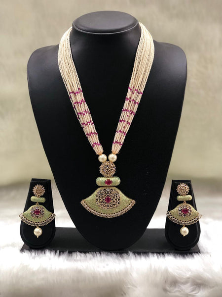 Multistranded Green Meenakari With Crystal Necklace Set