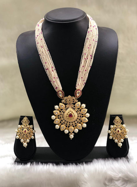 Multistranded Beautiful Meenakari With Crystal Necklace Set