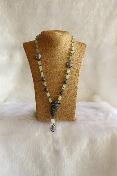 Opal Olive Green Crystal Pendant Necklace