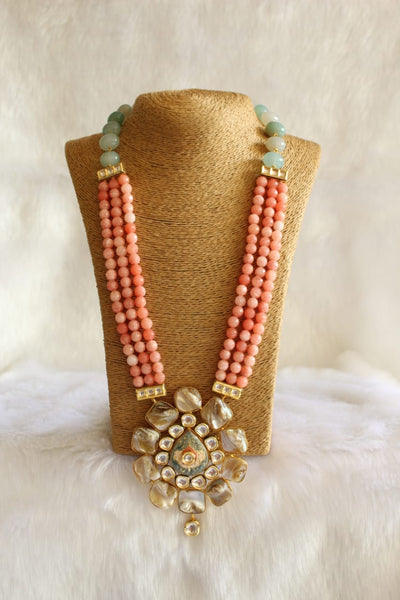 Coral Peach Pink MOP With Kundan Necklace