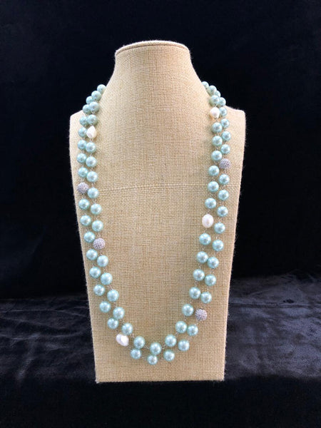 Majestic Mint Green Fresh Water Pearls Crystal Necklace