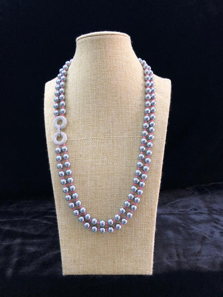 Superb Silver Shell Pearls With Crystal Brooch Necklace